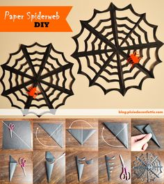 : Spinnen : Snel een web knippen Source by anja_zuccaro - Bricolage Halloween, Adornos Halloween, Manualidades Halloween, Halloween Tags, Halloween Birthday, Holidays Halloween, Homemade Halloween Decorations, Halloween Crafts For Kids, Diy Halloween Decorations