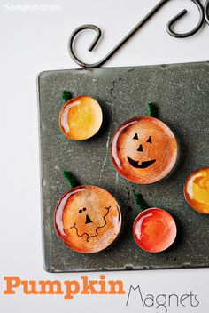 Pumpkin Magnets Tutorial at thebensonstreet.com #pumpkin #halloween #fall #crafts