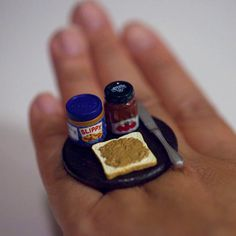Kawaii Miniature Food Ring  Peanut Butter by fingerfooddelight, $12.50