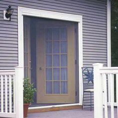 Therma tru vented sidelites patio doors patios and for Pull down retractable screen door