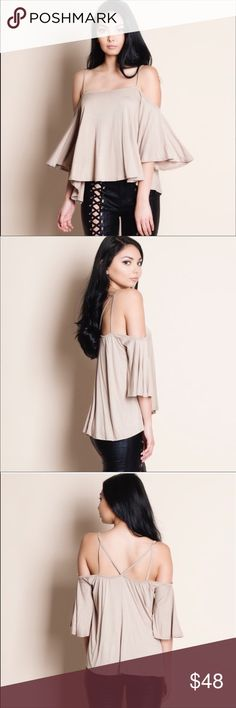 Open shoulder top! LAST L left!!!! Cold shoulder strapped top Tops