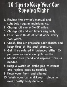 10 Tips to Keep your Car Running Right. This FREE printable checklist will help you keep your auto maintenance on track plus tips on getting ready 4 winter. Toyota, Car Facts, Car Care Tips, Car Fix, Car Buying Tips, Car Essentials, Driving Tips, Car Repair Service, Vehicle Repair