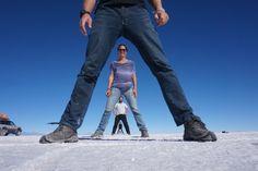 Ilusão de ótica no Salar de Uyuni