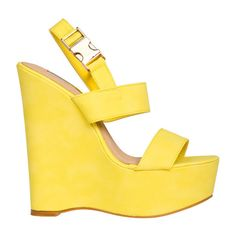 Billini Hayden Wedges ($55) ❤ liked on Polyvore featuring shoes, wedges, heels, yellow, ankle tie shoes, chunky wedge shoes, ankle strap shoes, strap wedge shoes and wedge heel shoes