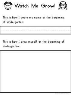 {FREE!} WATCH ME GROW! KINDERGARTEN WRITING AND DRAWING SAMPLE FOR PORTFOLIO