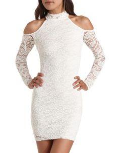 cold shoulder lace body-con dress