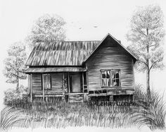 Abandoned House by Lena Auxier Abandoned House Drawing by Lena A. - Abandoned House by Lena Auxier Abandoned House Drawing by Lena Auxier Landscape Pencil Drawings, Landscape Sketch, Pencil Art Drawings, Art Sketches, Charcoal Drawings, Charcoal Art, Barn Drawing, House Drawing, Painting & Drawing
