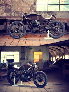 Is brown the new black? This highly-caffeinated café racer built for a coffee company sure looks good. It's a creative mix of CB250, CB360 and CB400 parts, and it took Christian Schwarzenlander of ExesoR Motorcycles over two years to construct.