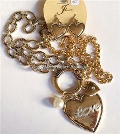 Gold Silver Plated Heart Love Necklace Earrings Set Chunky 30 In. Long Plus Size #JCreative #Pendant