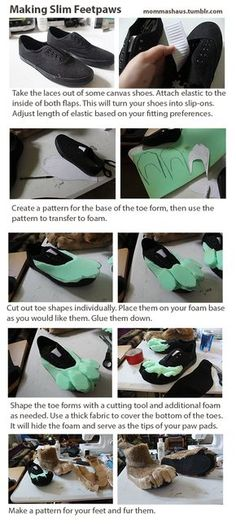http://www.furaffinity.net/view/13848935/ her tumlbr: http://mommashaus.tumblr.com/post/90186232173/slim-fursuit-feet-paw-tutorial-just-finished-a I need to try this, it looks so easy and the result...