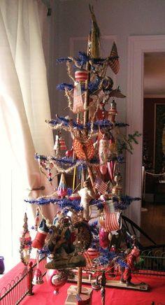 feather tree, patriotic