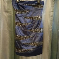 Navy blue formal / night out dress with sequins This was only worn once to graduation for a few hours.   Beautiful conservative formal dress with silver sequins. Very flattering I.N. Dresses Strapless