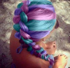 Rainbow ombre hair braid