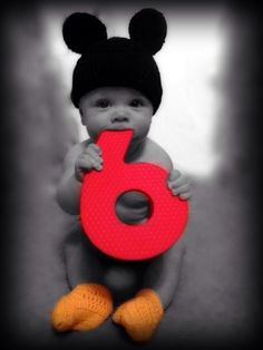 6 month old photo idea! Mickey Mouse! Love it!