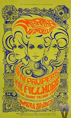 In the mid 60s there was one particular night club at the center of the universe: The Fillmore. And its performance posters also became phenomenal. I think they're still beautiful. Thanks to Bill Graham, Wes Wilson, Victor Moscoso and Stanley Mouse...