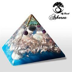 Atlantis Blue Orgonite pyramid orgone orgonit Hematite