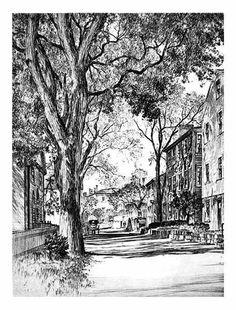 Samuel Chamberlain (1895-1975-American) - Summer street, Marblehead - 1936 (variant)
