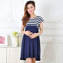 Nuevo Verano vestido de ropa de maternidad de algodón ocasional más el tamaño de las señoras de la raya de Maternidad Para las mujeres Embarazadas vestidos vestido amarelo(China (Mainland))