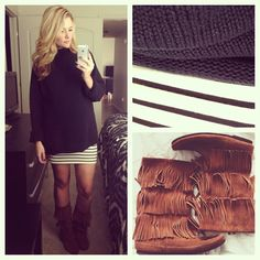 Black mens sweater, striped skirt, fringe boots