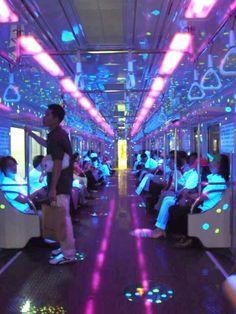fluorescent train