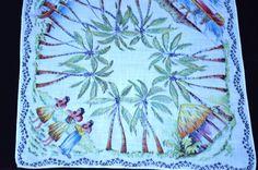 Vintage Hawaiian Islands Hanky Great Hand Coloring Rolled Edges. #StateSouvenir
