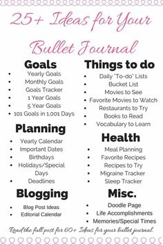 Looking for new ideas for your bullet journal?  Here's a unique and detailed list of pages for your bullet journal.