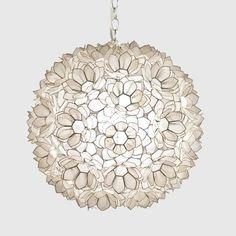 Worlds Away Jupiter Capiz Shell Floral Pendant-Large traditional pendant lighting