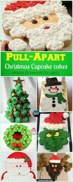 Christmas Pull Apart Cupcake Cake Decoration Ideas, All About Pull Apart Santa, Reindeer, Christmas Tree, Wreath Cakes. via Cake DIY Pull Apart Christmas Cupcake Cake Design Ideas Christmas Cupcake Cake, Holiday Cakes, Holiday Baking, Christmas Desserts, Christmas Baking, Holiday Treats, Cupcake Wreath, Christmas Birthday Cake, Christmas Cupcakes Decoration