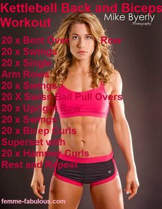 Kettlebell Back And Biceps Workout... her body is close to what I want to achieve