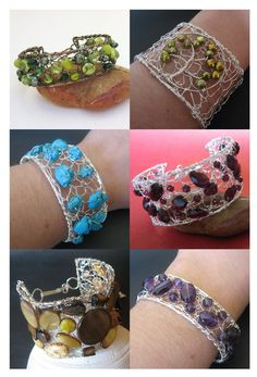 Knitted wire cuff bracelets