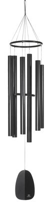 Windsinger Chimes of #Apollo - #Black.  Tuned to an ancient Asian scale, this super-resonant Woodstock Windsinger Chimes of Apollo are named for the Greek god of prophesy, music and #healing. Woodstock's Windsinger chimes have a distinctively compelling design. With a special suspension devised for maximum duration of its deep sounds, the six thick-walled black matte aluminum tubes produce enchanting harmonies.  #windchime #windchimes