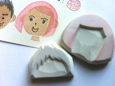 diy face rubber stamp hand carved rubber stamp by talktothesun