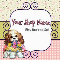Etsy Banner Set - Premade Etsy Banner - Etsy Shop Banner - Banner and Avatar Set - Puppy Etsy Banner - 181