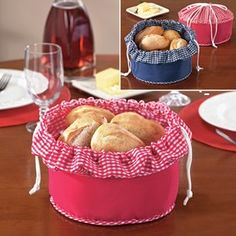 Bread Warmer Basket - keeps fresh baked rolls and bread warm for up to 60 minutes