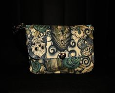 Day of the Dead Satchel style Handbag fully Lined with rear pocket.