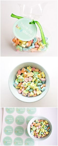 """St. Patrick Lucky Charms Favor. Free printable """"You're My Lucky Charm"""" favor tags."""