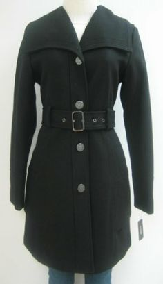 Guess Belted Wool Coat, Jacket, Black, Medium, Mw340 SIZE: MEDIUM, Arm pit to arm pit: 19.5 inches ,Shoulder to shoulder: 15.5 inches,Waist: 16.5 inches , Sleeve: 25 inches,Lenght: 34.5 inches. Great cut gets to a perfect fit.. Shell: 60% Wool, 30% Polyester, 10% Rayon. Linning: 100% Polyester. Professionally dry clean only!.  #GUESS #Apparel