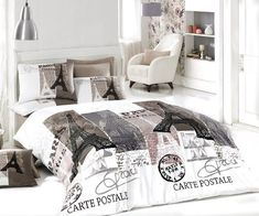 Cotton Paris Vintage Gray Full Double Size Duvet Cover Set Eiffel Theme Bedding Line.