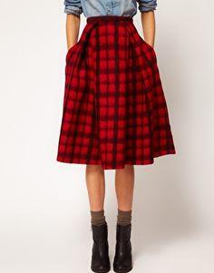 $88 ASOS Check Midi Skirt