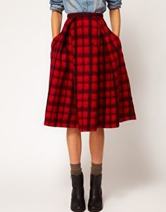 Enlarge ASOS Check Midi Skirt