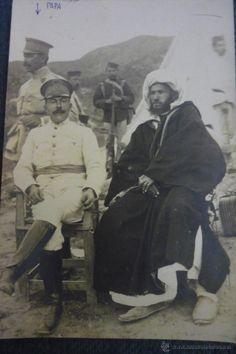 Postal con dirigentes militares españoles, guerra Norte de África