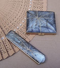 Vintage powder compact and folding comb matched by ElrondsEmporium