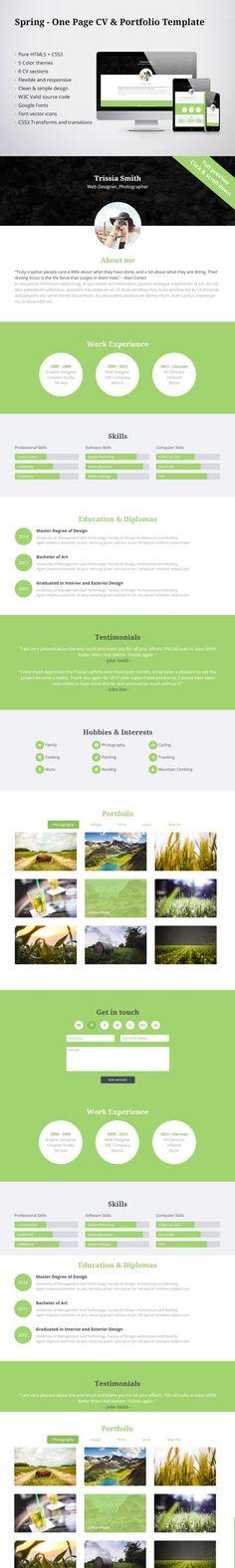 50% OFF - Spring - CV & Portfolio. HTML/CSS Themes. $4.00