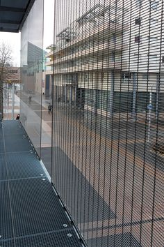 View from behind. HAVER Architectural Metal Mesh cladding MULTI-BARRETTE. ENA Strasbourg, France.
