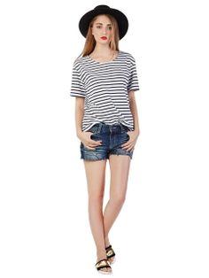 Shop Stripe Basic T-shirt from choies.com .Free shipping Worldwide.$13.9