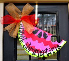 Summer Door Hanger, Chevron Door Decor Watermelon Welcome Sign, Summer Door Decoration, Summer Wreath by LooLeighsCharm on Etsy https://www.etsy.com/listing/154544322/summer-door-hanger-chevron-door-decor