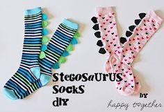 Stegosaurus Socks | Easy to make with knee high socks and fe… | Flickr