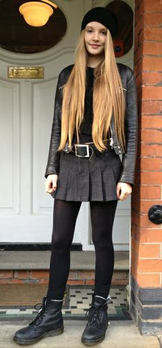 Home | Today I'm Wearing … Grunge, leather, hat, long hair, grunge style, docs, dr martens, cool