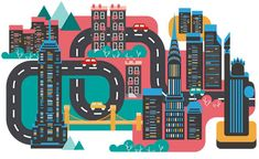 Cities by Jing Zhang in Colorful Map Illustration Designs Illustration Art Nouveau, Travel Illustration, Graphic Illustration, Art Tutorial, Nyc, New York Art, World Cities, Deviantart, Graphic Design Inspiration