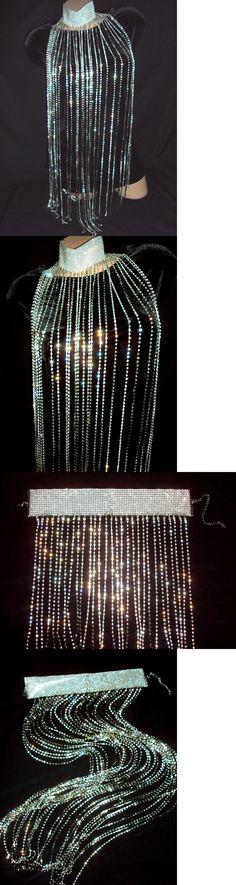 Body Chains 98526: Rhinestone Necklace Crystal Choker Tassel Body Breast Bra Silver Bling Strands -> BUY IT NOW ONLY: $79.97 on eBay!